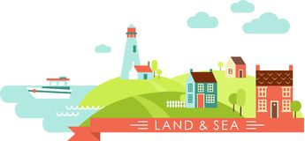 Country and sea landscape. Panoramic landscape with little town by the sea royalty free illustration