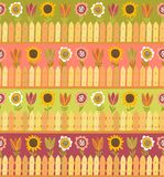 Country seamless pattern with fence and flowers Royalty Free Stock Photography