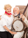 Country Seniors with Banjo stock image