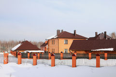 Country settlement, winter Stock Photos