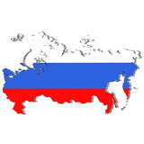 Country shape of Russia - 3D rendering of country borders filled with colors of Russia flag  on white background Royalty Free Stock Photography