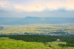 Country side aerial view around the active volcano - Mount Aso Stock Image