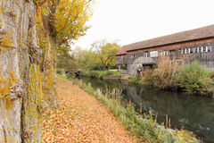 Country side alsace france.JPG. Country side warehouse near river alsace france.JPG stock photo