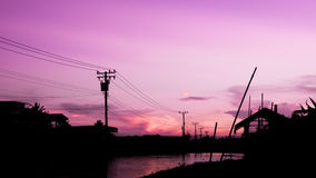Country side evenig. Country side in the evening with pink sky Stock Photos