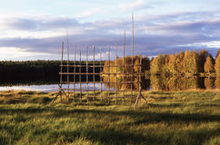 Country side near lake. Russian north Stock Photography