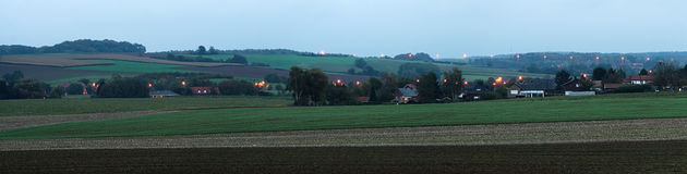 Country side panorama in twilight stock image