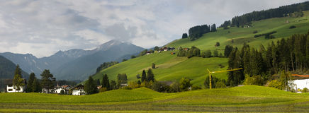 Country side panoramic scene, Italy. Country side panoramic landscape in the Dolomites north Italy Royalty Free Stock Photo