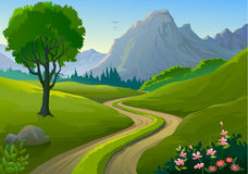 Country side Rocky Hills and Lonely Pathway stock illustration