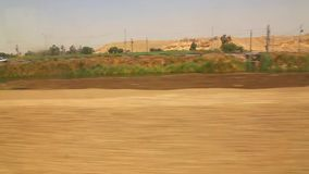 Country side from train Aswan Egypt Africa. View of country side from train Aswan Egypt Africa stock video