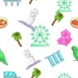 Country Singapore pattern, cartoon style. Country Singapore pattern. Cartoon illustration of country Singapore vector pattern for web Royalty Free Stock Photography