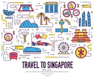 Country Singapore travel vacation guide of goods, place and feature. Set of architecture, fashion, people, item, nature. Background concept. Infographic Royalty Free Stock Images