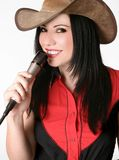 Country singer with microphone Stock Images