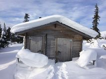 Country Snow Outhouse Stock Photo