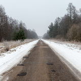 Country snowy road in winter Royalty Free Stock Image