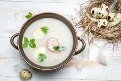 Country sour soup made ​​of fresh ingredients Royalty Free Stock Images