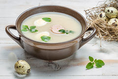 Country sour soup made ​​of fresh ingredients Stock Image