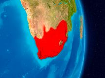 South Africa from space. Country of South Africa in red on planet Earth. 3D illustration. Elements of this image furnished by NASA Stock Photography