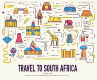 Country South Africa travel vacation of place and feature. Set of architecture, fashion, people, item, nature background. Concept. Infographic traditional vector illustration