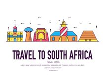 Country South Africa travel vacation of place and feature. Set of architecture, item, nature background concept. Infographic traditional ethnic flat, outline Royalty Free Stock Image