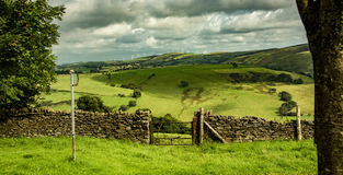 Country stile. A view from the Llangeinor Arms across the Ogwr valley, Glamorgan, Wales Stock Photos