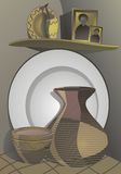 Country still life of ceramic dishes Stock Photo