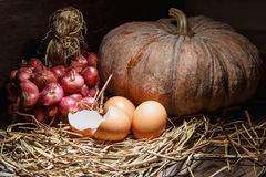 Country still life. Eggs on the stack Stock Photography