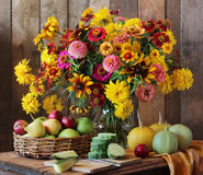 Country still life with flowers, fruits and vegetables. Royalty Free Stock Photos