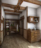 Country style bath house, 3D render. Example of country style, decorating. The purity of the lines, neutral colours and finishes with natural materials Stock Image