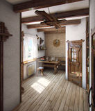 Country style bath house, 3D render. Example of country style, decorating. The purity of the lines, neutral colours and finishes with natural materials Royalty Free Stock Photos