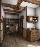 Country style bath house, 3D render. Example of country style, decorating. The purity of the lines, neutral colours and finishes with natural materials Stock Photos
