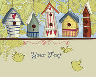 Country-style birdhouses background Royalty Free Stock Photography