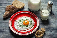 Country style breakfast made up of eggs and bread Royalty Free Stock Photo
