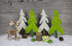 Country style christmas decoration in grey, white, brown and gre Royalty Free Stock Images