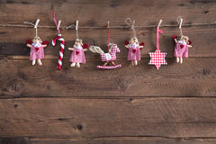 Country style christmas handmade decoration hanging on an old ru Royalty Free Stock Photography