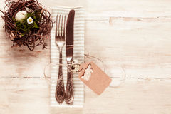 Country style easter cutlery with tag and bunny Stock Photography