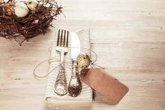 Country style easter cutlery with tag Royalty Free Stock Image