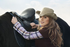 Country Style Fashion Portrait of Woman With Horse Stock Photography