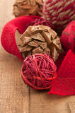 Country Style, Folk Art Christmas Ornaments and Jute Ribbon Royalty Free Stock Photos