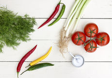 Country style kitchen scene. Fresh dill, spring onions, tomato, chili peppers and salt on white wooden table top royalty free stock photos
