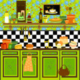 Country style retro kitchen. Cute graphic retro illustration in fifties/country style Stock Photography
