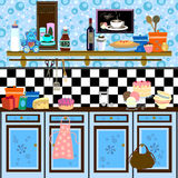 Country style retro kitchen. Cute graphic retro illustration in fifties/country style Royalty Free Stock Photos