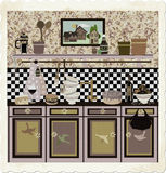 Country style retro kitchen. Cute graphic retro illustration in fifties/country style Stock Images
