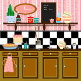 Country style retro kitchen. Cute graphic retro illustration in fifties/country style Royalty Free Stock Images