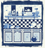 Country style retro kitchen design. Cyanotype graphic retro illustration in fifties/country style Stock Image