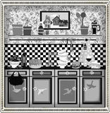 Country style retro kitchen design. Black and white boxed graphic retro illustration in fifties/country style Royalty Free Stock Image