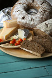 Country Style Rye Bread, Parmesan Cheese And Cherry Tomatoes Royalty Free Stock Photos