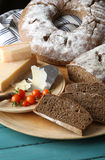 Country Style Rye Bread, Parmesan Cheese And Cherry Tomatoes Stock Photo
