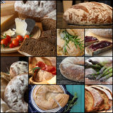 Country Style Wholemeal Rye Bread Loaf Set Collage. Traditional country style wheat rye wholemeal sliced onion round bread with hole set collage collection black Royalty Free Stock Photos
