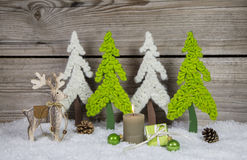 Country style wooden christmas decoration in apple green and whi Royalty Free Stock Images