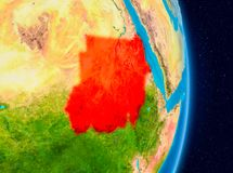 Sudan from space. Country of Sudan in red on planet Earth. 3D illustration. Elements of this image furnished by NASA Royalty Free Stock Image
